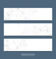 abstract molecules banners set with lines dots vector image vector image