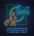 airport neon light concept icon vector image vector image