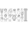 antique ancient greece heads sculptures vector image