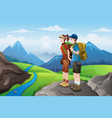 backpackers on top mountains vector image vector image