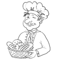 baker with bread basket contour vector image vector image