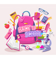 big pink backpack with many student items vector image vector image