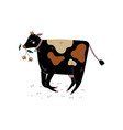 black spotted cow chewing grass dairy cattle vector image