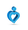 blue heart people figure logo symbol vector image vector image
