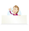 cartoon housewive holding ad sign vector image vector image