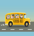 cartoon school bus with children vector image