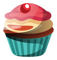 chocolate cupcake with vanilla and strawberry vector image