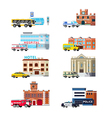 City Services And Buildings Orthogonal Set vector image