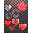 collection heart balloons accessories set vector image