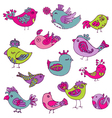 Colorful Birds Doodle Collection vector image vector image