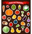 Colorful flat fruits and vegetables stickers set vector image vector image