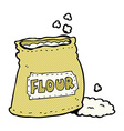 comic cartoon bag of flour vector image vector image