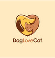 dog hugging cat in love shape cartoon logo vector image