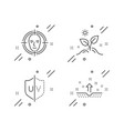 face detect grow plant and uv protection icons vector image vector image