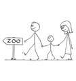 family or parents with kid or son walking to zoo vector image vector image