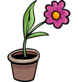 flower in pot clip art cartoon vector image vector image