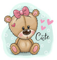 greeting card teddy bear girl on a blue background vector image