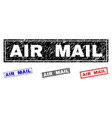 grunge air mail scratched rectangle stamps vector image
