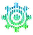halftone blue-green cogwheel icon vector image vector image