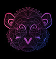 hand drawn neon monkey vector image