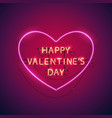 happy valentines day heart neon sign vector image vector image