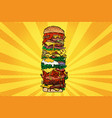 huge burger tower street fast food vector image vector image
