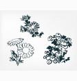 ink flower sketch japanese chinese oriental line vector image vector image