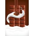 milk splash tongue with chocolate vector image vector image