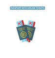 passport with air ticket line icon vector image
