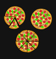 pizza with ham and mushrooms whole pizza and vector image