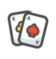 playing cards suits icon cartoon vector image