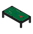 realistic snooker pool table with set billiard vector image vector image