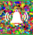 ringing bell icon white icon on colorful vector image vector image