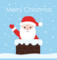 santa claus with a bell in chimney christmas and vector image
