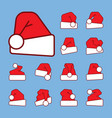 Santa hat outline with red color fill icon set