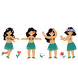 set hawaiian girls dancing hula isolated vector image
