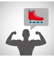silhouette man bodybuilder skating vector image