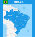 the detailed map of the brazil with regions or vector image vector image