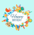 toy set for babirthday card banner vector image vector image