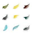 Types of wings icons set flat style vector image