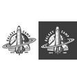 vintage monochrome space badge vector image vector image