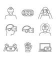 virtual reality linear icons set vector image vector image