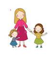 young mother and two daughters cute cartoon vector image vector image