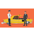taxi driver invites business people businessman go vector image