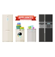 appliances icons set of elements - refrigerator vector image