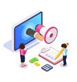 3d isometric online learning concept learning a vector image vector image