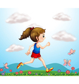 A girl running with butterflies vector image vector image