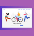 active people sports landing page template vector image