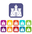 ancient castle palace icons set flat vector image vector image