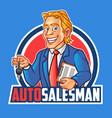 auto salesman mascot logo vector image vector image